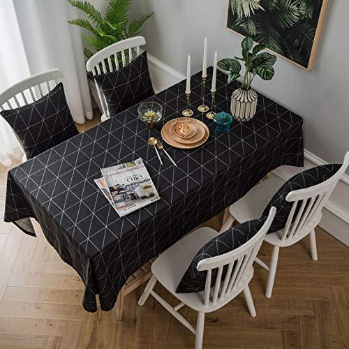 WSJIABIN Home Decoration Modern Minimalist Tablecloth Black Geometric Table Cloth Cotton Linen Cloth Art Desk Cover Cloth Tablecloth 140 * 250CM