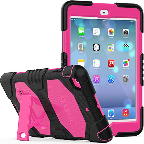 iPad Mini 123 Case for Kids, SEYMCY Full Body Rugged Shockproof Drop Protection Silicone Bumper Hard Case with Kickstand for iPad Mini 1st/2nd/3rd Generation (Black/Pink)