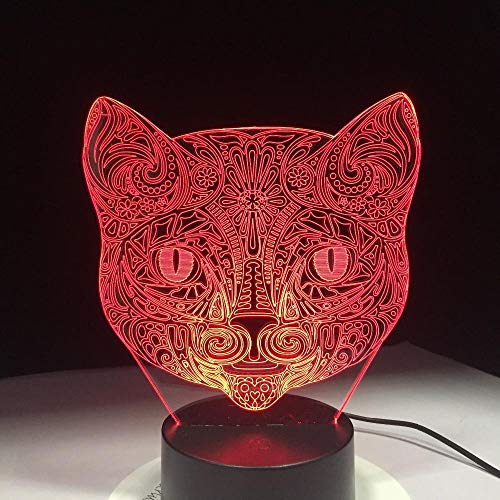 Desk Table Lamp Children 3D Illusion Lamp Illusion Night Lamp Cat 16 Colors Changing Touch Switch with Remote Control and USB Cable for Kids Birthday Christmas