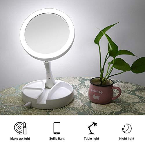 Miroir de Maquillage /à Ecran Tactile /à Rotation de 180 Degr/és avec 20 Lampes LED Charg/ées par Batterie ou USB Miroir de Maquillage Grossissant 10X