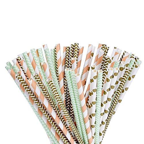 Paquete de 100 Pajitas, Cañitas de papel orgánico, 100 piezas, con un elegante patrón de oro, verde y naranja! by DURSHANI