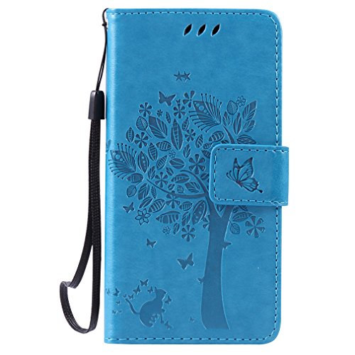 LMAZWUFULM Hülle für Huawei LUA-L21 /Y3 II 4,5 Zoll PU Leder Magnetverschluss Brieftasche Lederhülle Baum & Katzen Muster Standfunktion Schutzhülle Ledertasche Flip Cover Blau