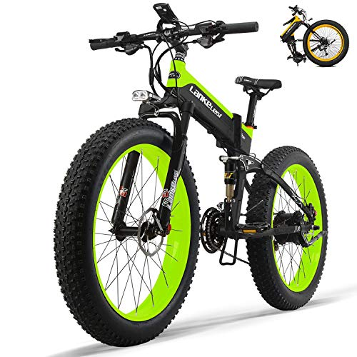 HUIIT Fat Tires Folding Electric Bikes for Adults 26""