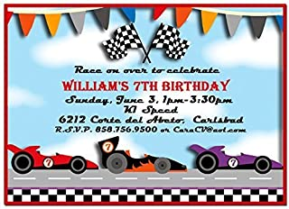 Race Car Party Invitations with ANY Wording Printed or Printable - Race, Speedway, Boy's Party Invitation