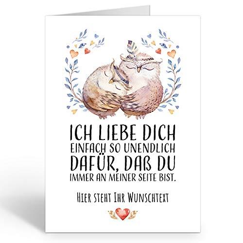 Große Ich Liebe Dich XXL-Karte zum Aufklappen (DIN A4) PERSONALISIERT - zwei Eulen mit Wunschname oder Wunschtext - mit Umschlag/Edle Design Klappkarte/Geburtstag/Valentinstag/Extra Groß/Gutschein