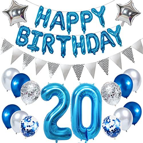 Ouceanwin 20 Cumpleaños Decoración Azul, Gigante Globos Numeros 20, Bandera de Globos Happy Birthday, Globos de Confeti, Banderín Plateado, 20 años Fiesta de Cumpleaños Kit para Hombre