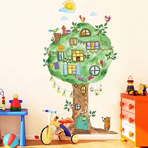 Pegatinas de pared de vinilo de casa de árbol de dibujos animados para habitación de niños jardín de infantes decoración de pared de habitación de bebé decoración del hogar calcomanías de arte Mural