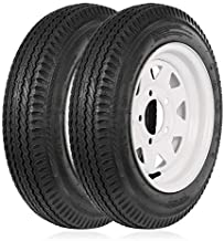 Weize 4.8-12 480-12 4.8x12 Trailer Tires with Rims, 5 Lug, Road Range C, 6 PLY, Set of 2