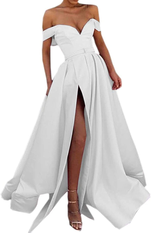 CiONE Vintage Satin Wedding Dress Off Shoulder Cocktail Dress with Slit