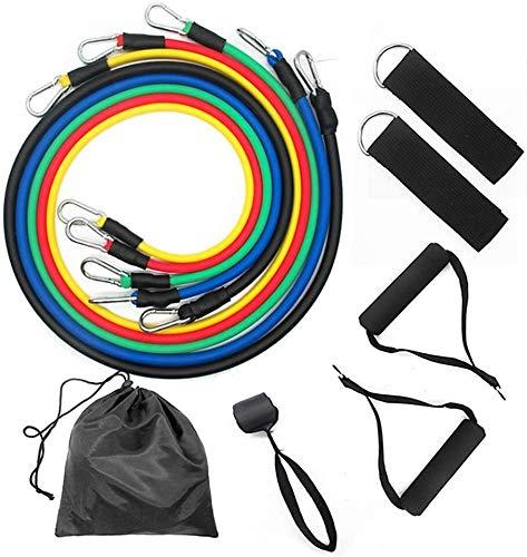 FANLIU 11 Bandas PC aptitud de resistencia Ejercicio Conjunto, entrenamiento de la fuerza elástica de tracción Cuerdas banda con tubos de yoga, apretones de la mano, ancla de la puerta, las correas de