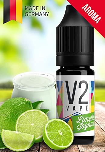 V2 Vape Limette-Joghurt AROMA / KONZENTRAT hochdosiertes Premium Lebensmittel-Aroma zum selber mischen von E-Liquid / Liquid-Base für E-Zigarette und E-Shisha 10ml 0mg nikotinfrei