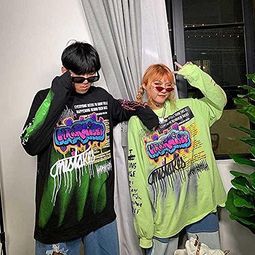 SuéTer Hip-Hop De Manga Larga Sudadera Con Capucha Moda Coreana Streetwear damas otoño punk tops tees mujeres imprimidas manga larga camisetas Casual Hip Hop Ropa ( Color : Black , Size : XL )