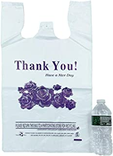"""R Noble Heavy Duty 12""""✖️23""""✖️7""""Purple Flower Thank You Reusable Disposable Grocery T-Shirt Plastic Bags 200 Counts 17Mic"""