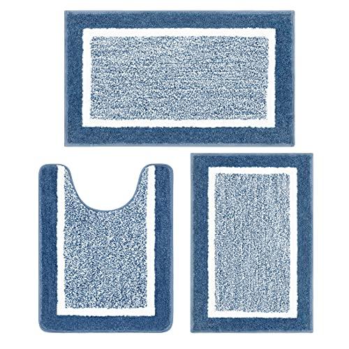 Pauwer Bathroom Rugs Sets 3 Piece Bathroom Shower Rugs with U-Shaped Contour Toilet Mat Absorbent Microfiber Plush Bath Mats Non Slip Bath Rugs Machine Washable Shaggy Bathroom Floor Mats