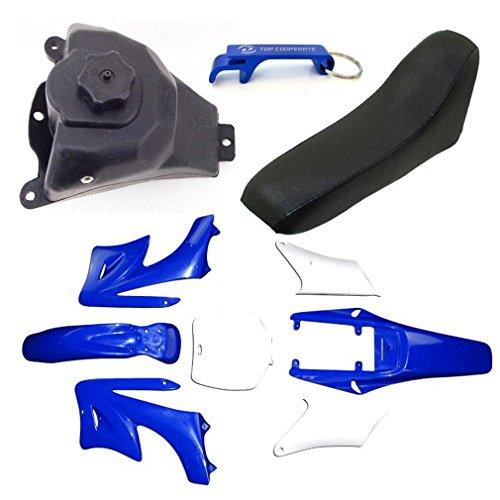 TC-Motor 7 Pieces High Strength Plastic Fender Fairing Body Kits + Foam Seat + Petrol Gas Fuel Tank For Chinese 2 Stroke 47cc 49cc Minimoto Orion Mini Dirt Bike Apollo KXD Motorcycle (Blue)