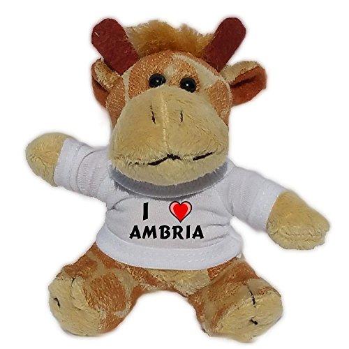 SHOPZEUS Plüsch Giraffe Schlüsselhalter mit T-shirt mit Aufschrift Ich liebe Ambria (Vorname/Zuname/Spitzname)