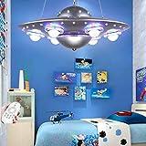 Plafonnier De Chambre À Coucher Pour Enfants Suspension De Chambre De Filles Pour Garçons Lustre De Soucoupe Volante UFO Extraterrestre Créatif Lampe Décorative Pour Chambre De Dessin Animé