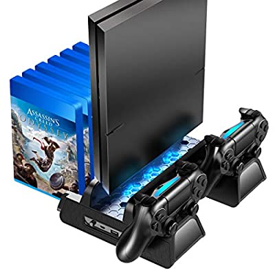 OIVO PS4 /PS4 Slim/PS4 Pro Vertical Cooling Stand with Controller Charging Dock and 12 Game Slots …