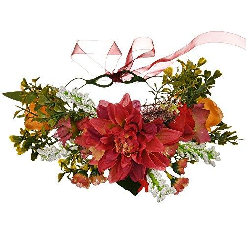 YAZILIND Boda Nupcial Chrysanthemum Margarita Flor Hojas Guirnalda de Dama de Honor Tocado Corona Playa Guirnalda Floral (Rojo)