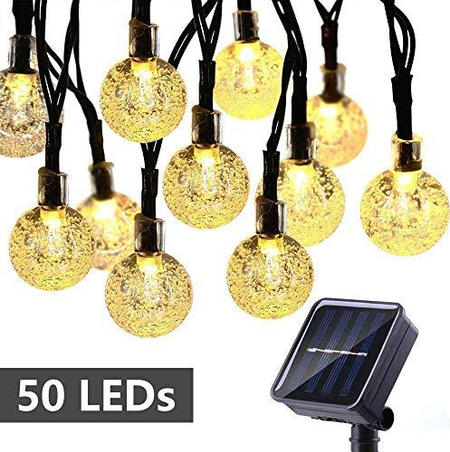 Qedertek Solar Lichterkette Aussen, 8M 50 LED Solarlichterkette für außen mit Kristall Kugeln, Wasserdicht Lichterkette außen Solar für Garten, Bäume, Terrasse, Hochzeiten, Partys (Warmweiß)