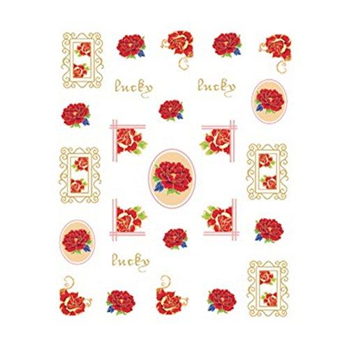 5Pcs Belle Motif Fleurs Nail Art Tips Sticker Décoration, BLE2030