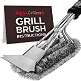 Alpha Grillers Grill Brush and Scraper. Best BBQ Cleaner. Perfect Tools for All Grill Types, Including Weber....