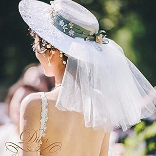 ベールつき 帽子 お花 リボン ハット ブライダルハット ウェディングハット