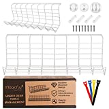 Magicfly 2 Pack Under Desk Cable Management, Cable Management Tray with 3 Cord Holders and 4 Cable Ties, Metal Wire Cable Tray Organizer for Office & Home, White, 17 Inch