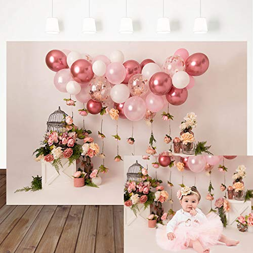 Mocsicka Spring Floral Birdcage Backdrop Newborn Baby Cake Smash Background Pink Balloons Children Kids Portrait Photography Backdrop Photo Booth Props (7x5ft)