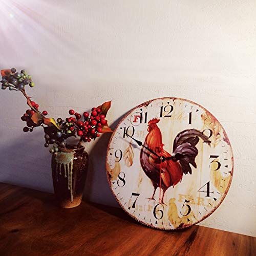 Qukueoy 12 Inch Vintage Farmhouse Kitchen Wall Clocks Battery Operated Rooster Analog Clock for Dinning Living Room Decor,Thicken Wood Board,Non-Ticking