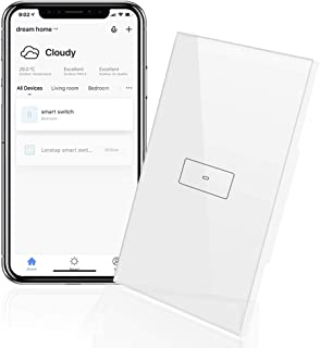 LoraTap WiFi Light Switch, 1 Gang Smart Touch Wall Switch Timer Wireless On Off Remote Control by Mobile App, Compatible with Alexa Echo and Google Home, 20A/2200W, White