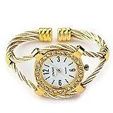 skyllc® Brazalete Pulsera Diamantes Mujer Dorado Reloj 34mm Moda Fiesta