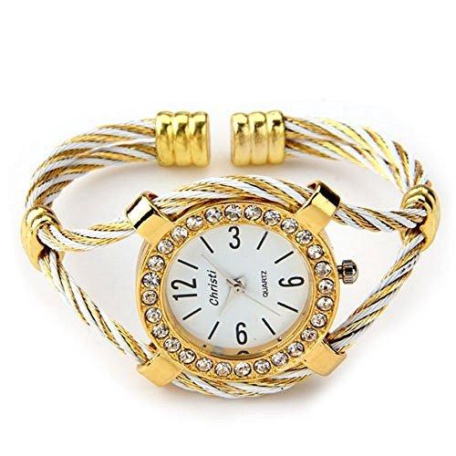 skyllc Brazalete Pulsera Diamantes Mujer Dorado Reloj 34mm Moda Fiesta