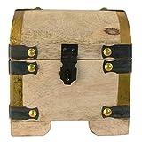 Schatztruhe aus Mangoholz (ohne Gravur) - nachhaltige Holztruhe, antike/rustikale Optik - dekorative Geschenkidee für Männer und Frauen