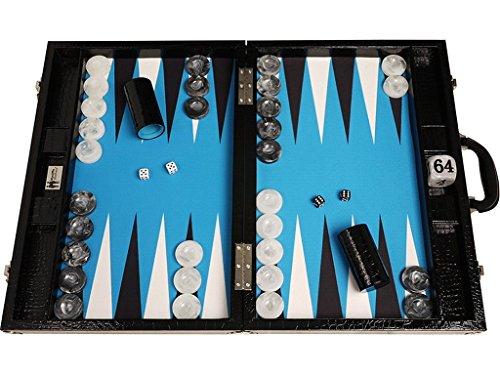 Wycliffe Brothers Set di Backgammon da torneo Pelle di Coccodrillo Nera con Campo Blu - Gen III