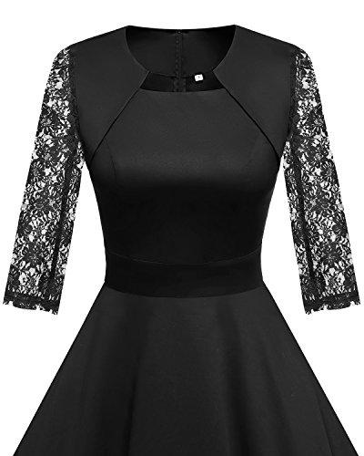 HomRain Damen 50er Vintage Retro Kleid Party Langarm Rockabilly Cocktail Abendkleider Black-1 XS - 3