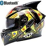 JohnnyLuLu Motorrad Modular Crash Bluetooth Smart Helm, Antibeschlag Doppelscheibe, Headset Eingebaute Flip Motorrad Racing Helme,B,XL -