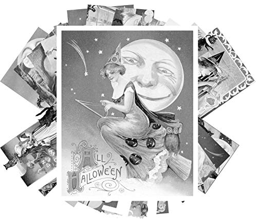 Coloring Grayscale Cards (24 Cards 4'x6') Halloween Vintage Greeting Cards Witch Horror FLONZ Vintage Designs for Adult Coloring