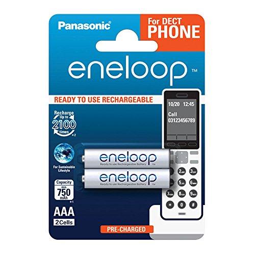 Panasonic eneloop, Ready-to-Use Ni-MH Akku, AAA Micro,2er Pack, min.750 mAh,2100 Ladezyklen, geringe Selbstentladung, für Schnurlostelefone (DECT), wiederaufladbare Akku Batterie