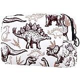 Organizador De Neceser De Maquillaje Bolsas De Cosméticos Pequeñas para Mujer Neceser De Viaje Neceser Estuche De Maquillaje Monedero Bolso De Mano Dinosaurios Prehistóricos Reptiles con Huellas