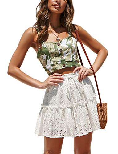 Women's High Waisted Ruffle Mini Skirts A-Line Boho Beach Flared Pleated Short Skater Skirt Solid White Medium