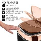Tower Küchenabfalleimer Sensor Deckel berührungslos für hygienische Abfallentsorgung, Infrarot Technologie, 58 Liter, Schwarz und Rosegold - 5