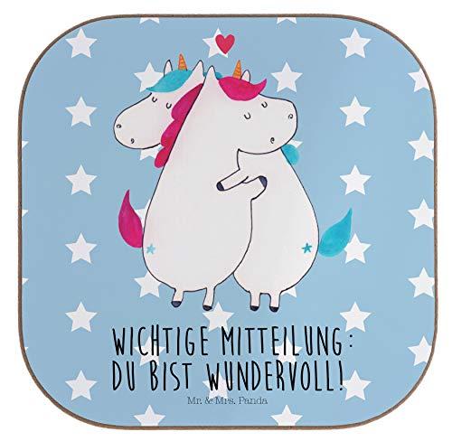 Mr. & Mrs. Panda Holz, Glasuntersetzer, Quadratische Untersetzer Einhorn Mitteilung mit Spruch - Farbe Blau Pastell