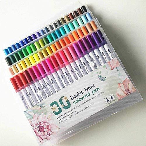 Kunststiften, 80 stuks flexibele aquarelpenseel-tekenpennen Dual Tip Brush-pennen voor kinderen en volwassenen (80 kleuren)
