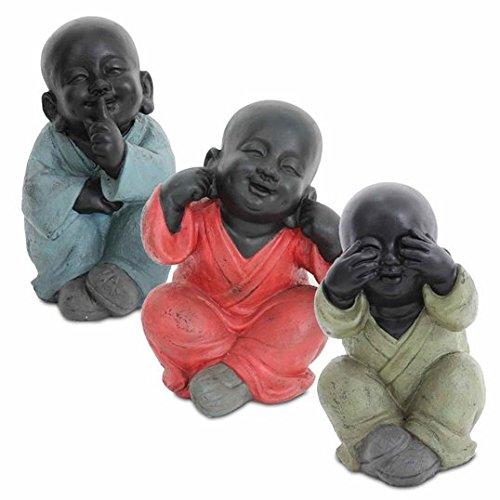 CAPRILO 3 Figuras Decorativas Budas Sentado No Ve, No Oye, No Habla Resina Bronce.35 x 27 x 24 cm.