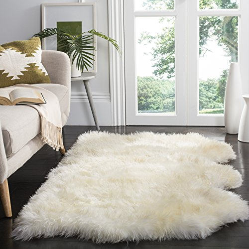 Safavieh Sheep Skin Collection SHS211A Handmade Rustic Glam Genuine Pelt 3.4-inch Extra Thick Area Rug, 3′ x 5′, Natural / White