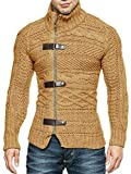 Karlywindow Men's Cable Knitted Oplique Zip Button Front Long Sleeve Cardigan Sweater (Large, Brown)