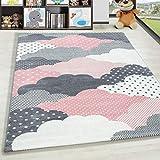 HomebyHome Alfombra Infantil Diseño de Nubes Habitación Infantil para bebé Gris Rosa rectángulo Redonda, tamaño:120x170 cm, Color:Rosa