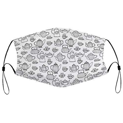 DKISEE Fashion Unisex Staubmaske mit Filterelement, verstellbare Ohrschlaufe, Gesichtsmaske für den Außenbereich (Teekannen, nahtloses Muster)