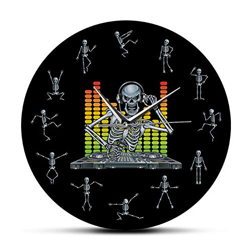 yage DJ Skull Skeleton Mixing Music Party Reloj de Pared con Divertidos Esqueletos Bailando como números Decoración del hogar de Halloween Reloj de Pared Colgante